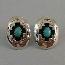 GAYNELLE PERRY .925 STERLING SILVER TURQUOISE SHADOWBOX POST EARRINGS