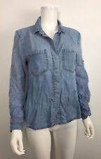 Bella Dahl Top Sz S Hi-Low Tencel Chambray Split Back Button Shirt Light Blue