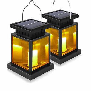 2x LED Solarlaterne mit LED Kerze 30 LEDs +Akku Gartenlaterne Laterne Solarglas