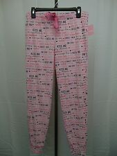 Jenni Sleepwear, Love Script Printed Pajama Pants Light Pink Small #2762