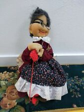 Vintage 1970s Nerdy Knitting Granny Pantyhose Handmade Art Doll