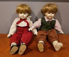 """Antique Porcelain Dolls Jdk Kestner 16"""" Marked 247 Boy and Girl (Musical)"""