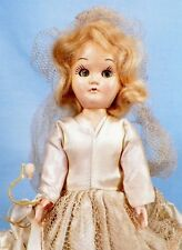 Bride Doll Hard Plastic Blonde Hair Ivory Taffeta Gown Wedding Vintage Adorable