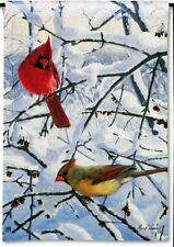 "WINTER MORNING CARDINALS on Snowy Limbs 12.5"" x 18"" Small Decorative Banner Flag"