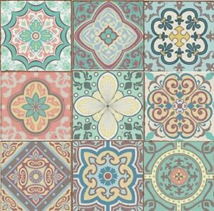 Pack of 9 Mixed Pastel blue green yellow pink Victorian Moroccan retro aged tile