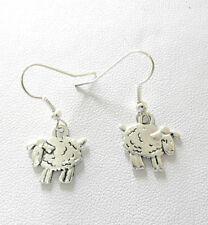 Dangle earrings - cute silver colour sheep