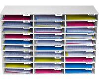 AdirOffice White Corrugated Cardboard 30 Slot Classroom File Organizer