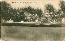 ISMAILIA Statues Gardens EGYPT Vintage PC 1917