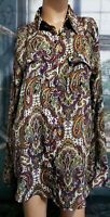 Premise Studio Womens Paisley Top Sz 14 Blouse Long Sleeve Button Up Multicolor