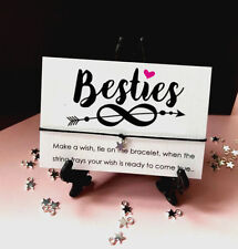 Gift Tag Wish String Charm Bracelet Besties Heart infinity Friendship Star #34