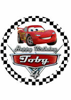 Cars Lightening McQueen custom Edible Image on REAL Icing Birthday Cake Topper
