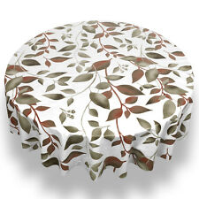 "Springtime Premum Quality Vinyl Flannel Back Tablecloth 70"" Round"