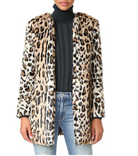 NWT $175 Cupcakes And Cashmere Elvina Faux Fur Zip Front Leopard Coat Large L
