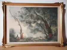 Gravure ancienne d'apres Jean-Baptiste Camille Corot Souvenir des Mortefontaine