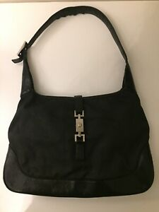 Authentic Gucci Black Leather Jackie Bag Large