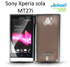 Jekod black TPU gel s case cover+screen protector for Sony Ericsson Xperia Sola