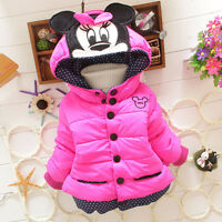 Kids Girls Minnie Mouse Winter Thick Jacket Coat Cartoon Hooded Warm Outerwear