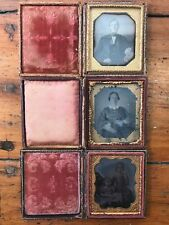 3x Antique c1860s Ambrotypes Wood Leather Cases, Portrait Mom Dad Daughters