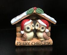 "1940's Noritake Owls Figurine ""Merry Christmas� Snowy Birdhouse Santa Hats Holly"