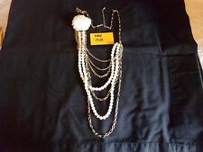 "Faux Pearl Goldtone Multi-Strand Chain with Flower, 34""           May17-01"