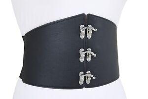Women Hip High Waist Wide Elastic Dressy Corset Fancy Belt Hook Buckles L XL XXL
