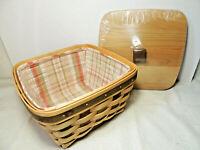LONGABERGER American Craft Large Berry Basket Homestead Liner Protector Wood Lid