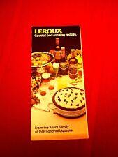 Vintage collectible 1960s Leroux Liqueurs fold out cocktail recipe booklet guide