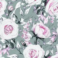 SOMMER SWEAT FRENCH TERRY JERSEY LOVE ROSEN Blumen Roses Stoff Baumwolljersey