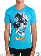 ON SALE! NEW DOM REBEL WASTED T-SHIRT MED Crew Neck AUTHENTIC Surfer Skull TEAL