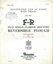 RANSOMES REVERSIBLE PLOUGH TS51 PARTS MANUAL WITH PRICES - DATED 1949 - GTC