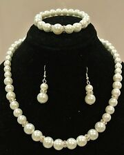 White Ivory Pearls Wedding Bridal Bridesmaid Prom Rhinestone Jewelry Set J2