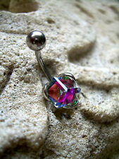 Belly Button Navel Ring 14g Aurora Borealis Art Deco Crystal Cube ML18A Simple