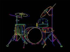 ART PRINT POSTER PAINTING DRAWING COLOURFUL DRUM KIT MUSIC INSTRUMENT LFMP0407