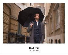 Balios Black Umbrella Double Canopy Wood Handle Windproof Auto Open & Close UK