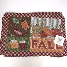 """Set of 4 Autumn Fall Pumpkin Leaves & Coco Tapestry Place Mat 13"""" x 19"""" NWTs"""