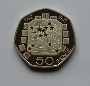 1992 1993 Dual Date EEC Proof 50p Fifty pence Coin