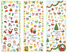 Nail Art Stickers Transfers Decals HOT Series Xmas Snowman Santa 196-198