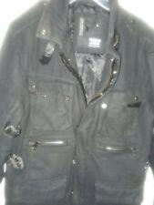 Premium Lounge PL Men's Wool Coat Parka Jacket Thicken Black Multi-Pocket Zip LG
