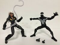 LOT 2X Marvel Legends Spider-Man Symbiote + BLACK CAT KAT (No Kingpin BAF Piece)