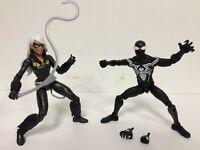 LOT 2X Marvel Legends Spider-Man Symbiote + BLACK CAT KAT (No Kingpin BAF Piece)