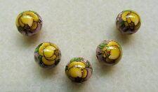 5 Japanese Tensha Beads YELLOW ROSE on PINK MIRACLE ROUND Beads 12mm