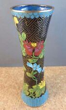 "Antique Chinese Fine Cloisonne Enamel Brass Blue Yellow Red Floral Black 6"" Vase"