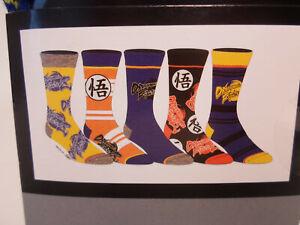 Dragonball Z Mens 5 Pair 5 Pack Casual Crew Socks Shoe Size 8-12 Dragon ball