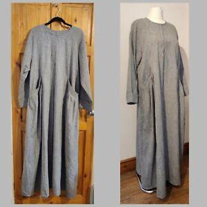 Handmade grey dress XL UK 20 pockets modest long
