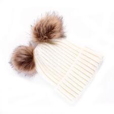 Two Pom Raccoon Women&Baby Kids Winter Warm Knit Crochet Hat Beanie Ski Ball Cap