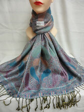 2PLY THICK METALLIC SHINNY PASHMINA CASHMERE BLUE COLOR WRAP SCARF SHAWL STOLE