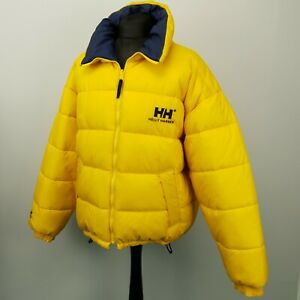 Helly Hansen Mens  Down Jacket REVERSIBLE 2 Sided Coat 2XL Down Yellow Blue