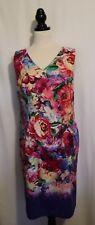 DIANA FERRARI ~ Brightly Coloured Roses Print Sleeveless Fitted Shift Dress 12