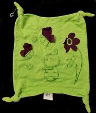 Doudou Abeille Papillons AT HOME CROCHU Plat Carré Vert Violet Fleurs NEUF