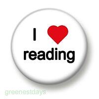 I Love / Heart Reading 1 Inch / 25mm Pin Button Badge Books Bookworm Literature